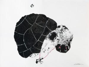 3-chi va piano va sano 2014 encre de chine,fil de soie rouge sur papier 40 x 30 cm