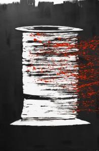 Bobisang 2012 encre de chine,acrylique sur papier arches 400g marouflé sur châssis bois 120 x 80 cm